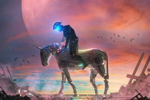Cyborg Horse Rider 5k Wallpaper