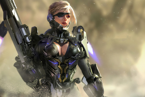 Cybrog Armour Girl Wallpaper