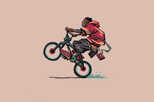Cyclist Wheelie Minimal 4k Wallpaper