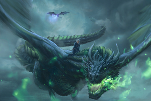 Daenerys Targaryen Dragon Digital Art 4k