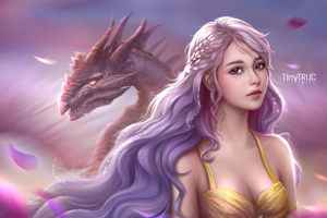 Daenerys Targaryen Fantasy Art 4k Wallpaper