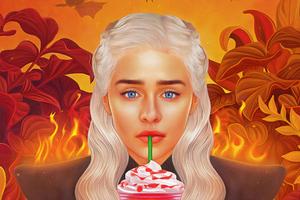Daenerys Targaryen Starbucks Wallpaper