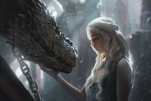 Daenerys Targaryen With Dragon Artwork