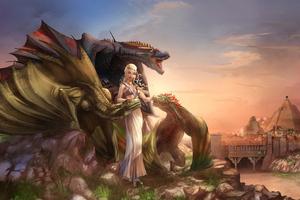 Daenerys Targaryen With Dragons 4k