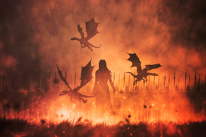 Daenerys Targaryen With Dragons Illustration