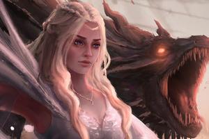 Daenerys Targayen With Dragons Artwork 4k