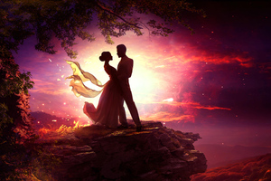Dancing Couple In Moonlight Wallpaper
