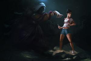 Dangerous Game Girl Ghost Artwork Wallpaper