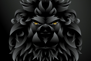 Dark Black Lion Illustration