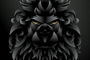 Dark Black Lion Illustration Wallpaper