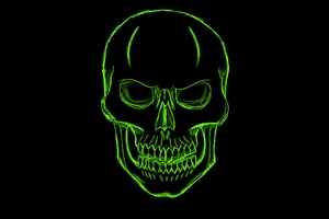 Dark Green Skull Minimalism Art Wallpaper