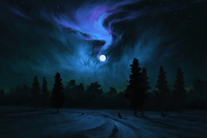 Dark Moon Wolf Howling 4k
