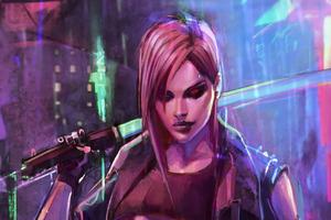 Dark Neon Warrior Girl Art