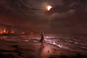 Dark Night Beach Fire Digital Comic Art Wallpaper