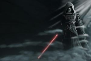 Darth Revan Star Wars With Lightsaber Wallpaper