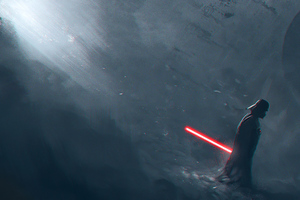 Darth Vader In Dark Light Wallpaper
