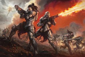 Daughters Of The Burning Rose Battlescene Wallpaper