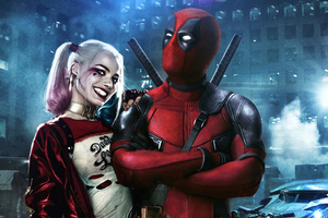 Deadpool And Harley Quinn Art Wallpaper
