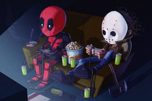 Deadpool And His Friend Playing Video Games Wallpaper