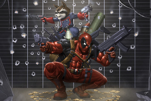 Deadpool And Raccoon Wallpaper