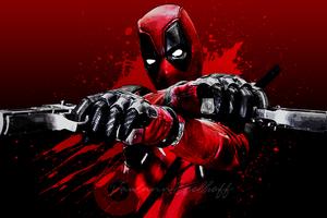Deadpool Blood Guns Glitch Art 4k