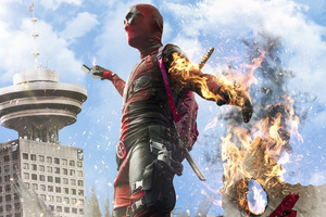 Deadpool Burning On The Edge