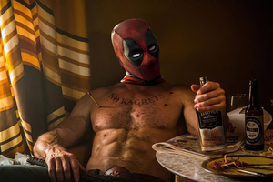 Deadpool Drinking Vodka Wallpaper