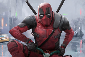 Deadpool Driving Kid Cycle Wallpaper
