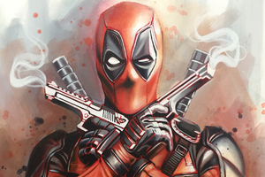 Deadpool Guns Up Wallpaper