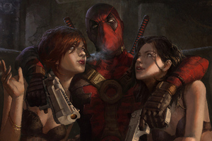Deadpool Hanging Out With Girl Wallpaper