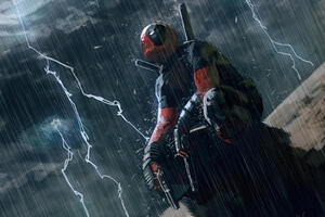 Deadpool In The Rain Wallpaper