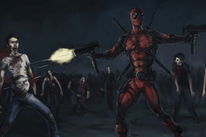 Deadpool Killing Zombies Wallpaper