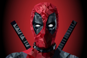 Deadpool Low Poly Art 4k