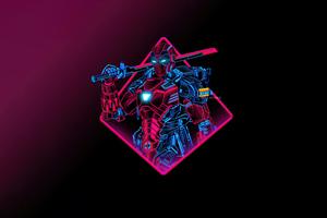 Deadpool Neon Armor Minimal 5k Wallpaper