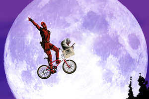 Deadpool On Cycle Wallpaper