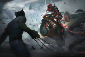 Deadpool On Super Bike