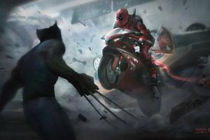 Deadpool On Super Bike Wallpaper