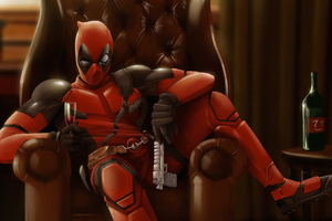 Deadpool Sitting On Sofa 4k