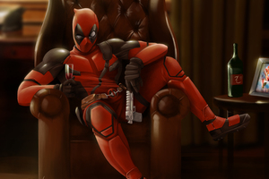 Deadpool Sitting On Sofa