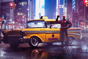 Deadpool Taxi 4k Wallpaper