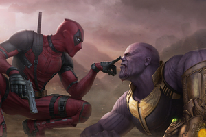 Deadpool Vs Thanos 4k Wallpaper