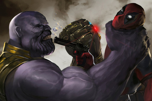 Deadpool Vs Thanos Art