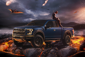 Deadpool With Ford Raptor Wallpaper