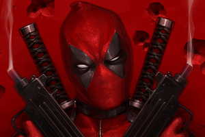 Deadpool With Guns Up Art