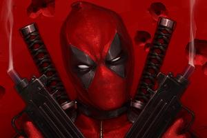 Deadpool With Guns Up Art