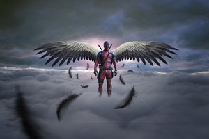 Deadpool With Wings Wallpaper