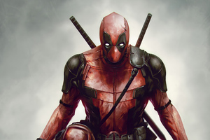 Deadpool With Wolverine Claws In Hand Wallpaper