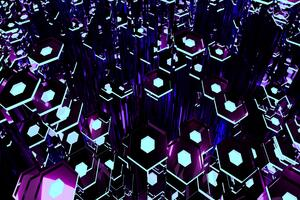 Deep Purple Tron Hexagons 8k Wallpaper