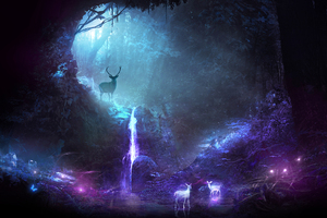 Deer Animal Night Fantasy Waterfall Wallpaper