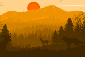 Deer Forest Fox Sun Red Trees Birds 4k